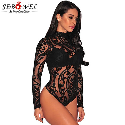 SEBOWEL / Black Sheer Mesh Bodysuits / New Spring Transparent