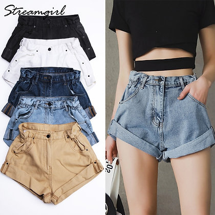 Streamgirl - Elastic Waist Vintage High Waist Shorts
