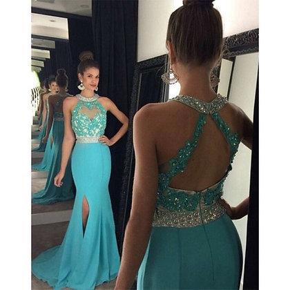 Light Blue Side Slit Chiffon Formal Evening Dress