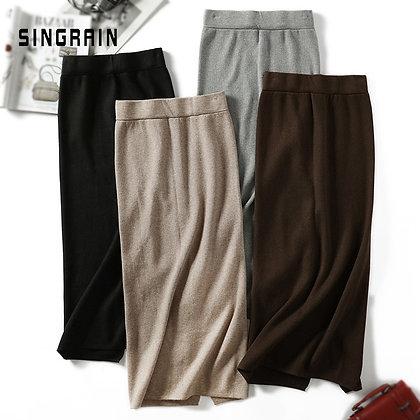 Pencil Midi Knitted Skirt / High Waist
