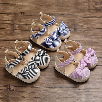Baby Girl Breathable Stripe Pattern Anti-Slip Shoes With Bowknot Casual Sneakers