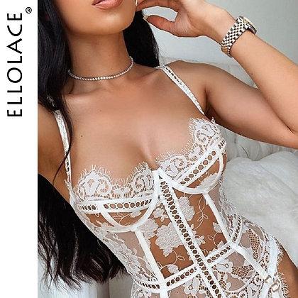 Ellolace Corset / See Through Lingerie Set for Women Transparent Erotic Lingerie