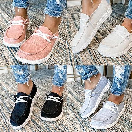 Canvas Flat Vulcanize Casual Shoes - Plus Sizes