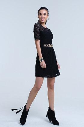 Black Lace Short Sleeve Dress