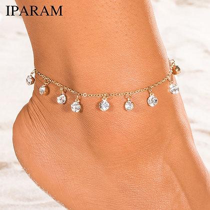 Vintage Pendant Crystal Anklet