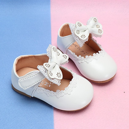 CUZULLAA Princess Lace Bowtie Casual Flat Soft Sole Slip-On Shoes Size 15-30