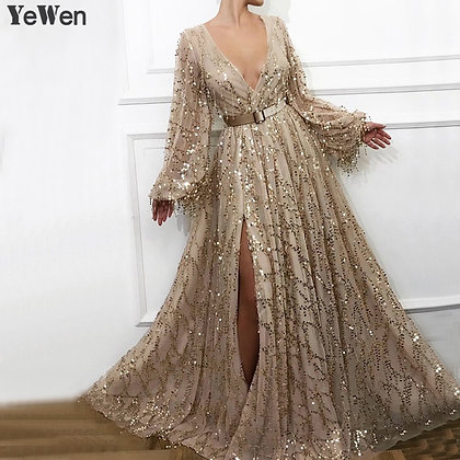 Gorgeous Champagne v Neck High Split Sparkle Evening Dress With Belt