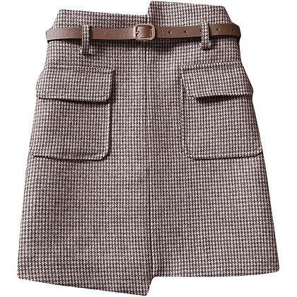 Houndstooth Plaid A-Line Mini Skirt
