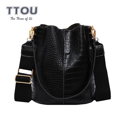 TTOU Bucket Bag Large Capacity Pu Leather /Buckle Purse Crocodile Retro Vintage