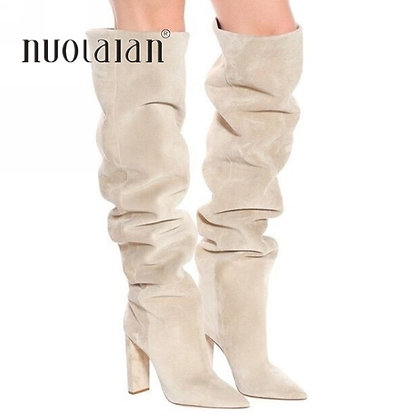 New Brand Women Boots Fashion High Heels Faux Suede Over the Knee