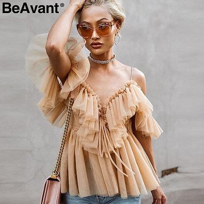 BeAvant Off Shoulder Womens Top Backless Sexy Peplum Vintage Ruffle Mesh Blouse