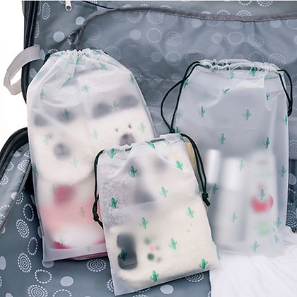 Transparent Drawstring Cactus Cosmetic Bag Travel Makeup Case Make Up bag