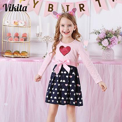 VIKITA Girls Cotton Dress Long Sleeve Children Patchwork Vestidos Kid