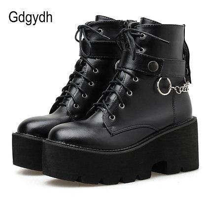 Gdgydh Chain / Leather Autumn Boots Block Heel Gothic Punk Style / High Quality