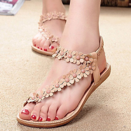 Plus Size - Thong Woven Sandals / Low Heels