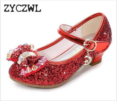 Princess Kids Leather Shoes for Girls Flower Casual Glitter Children High Heel