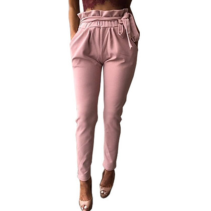 New Hot Sale Wooden Bandage Stretch Elastic Casual Trousers