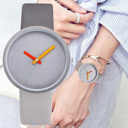 Leather Quartz Unisex Casual Wrist Watch