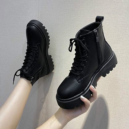 Leather Lace-Up Platform Ankle Boots