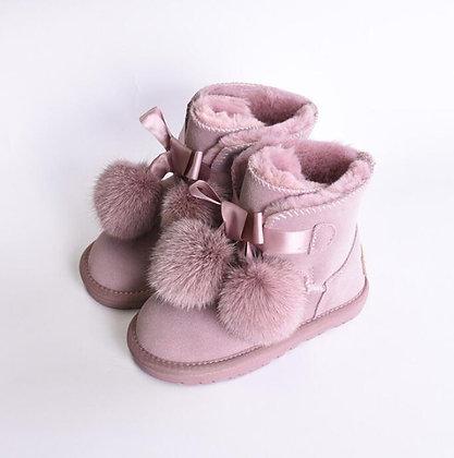 Genuine Leather Soft Bottom - Baby Girls Ski Boot