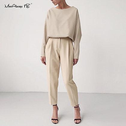 Mnealways18 Vintage Zipper Khaki - High Waist Trousers