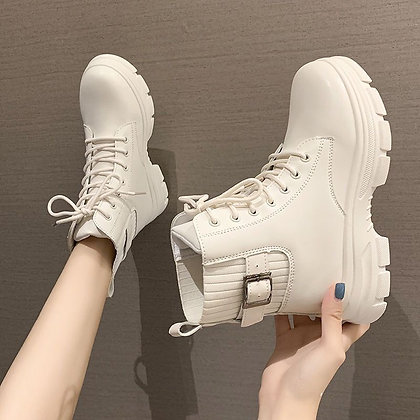 PU Ankle Boots / Elastic - Comfortable Chunky Boots