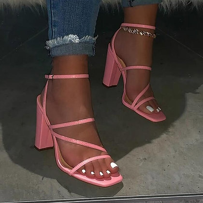 PINK - Open-Toe High-Heeled Sandals- Plus Size
