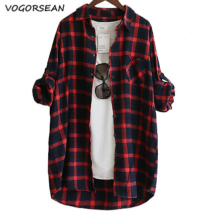 Loose Casual Plaid Shirts Long Sleeve Large Size Tops Womens Blouses  2021