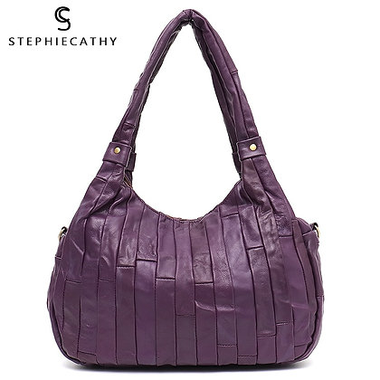 SC Retro Casual Sheepskin Patchwork Hobo Design Real Leather Tote Handbag