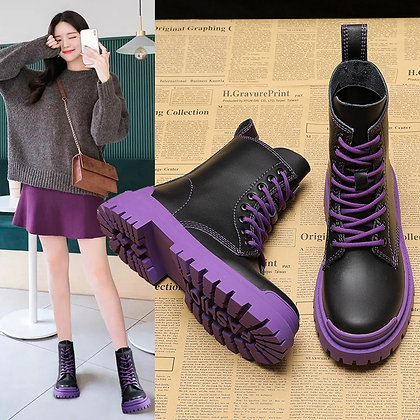 Koovan - Lace-up Breathable Platform Ankle Boots