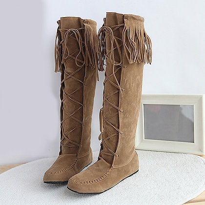 Knee High / Tassel Fringe / Faux Suede Leather Flat Boots