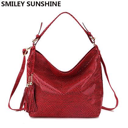 Snake Leather Serpentine Pattern Hobo Handbag Purse Big Red Tote