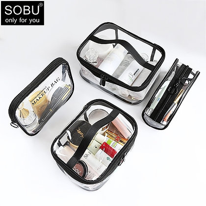 Waterproof Transparent PVC Bath Cosmetic Bag Women Make Up Case Travel Zipper