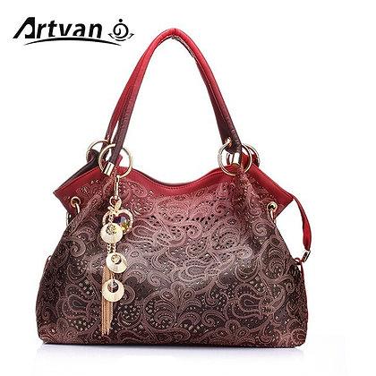 Designer  PU Leather Hollow Out Tassel Bag / Bolsa Feminina LH33