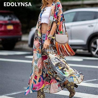 2021 Bohemian Printed Beach Wear Long Kimono Cardigan Cotton Tunic Top