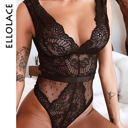 Ellolace - Floral Embroidery Deep v Neck Sexy Bodysuit