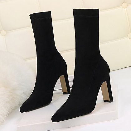 High Heel Boots / 2020 Flock Thick Heel Ankle Booties / Winter Pointed Toe