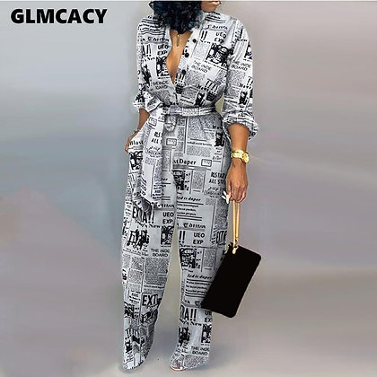 Long Sleeve Newspaper Print Outfit / Jumpsuit