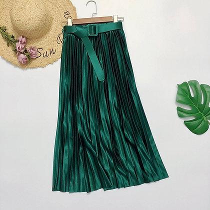 Pleated High Waist Satin Skirt