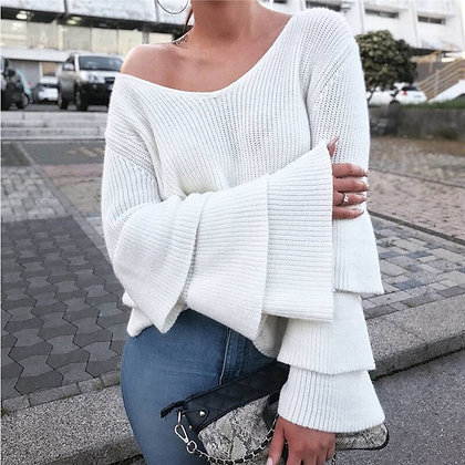 Knitted Sweater - Flare Sleeve Loose Pullover