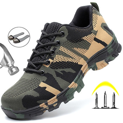 Steel Toe Cap - Safety Work Boots / Camouflage Military