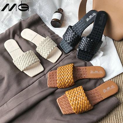 Weave Leather Flat Slides Flat Sandals / 2021 Design