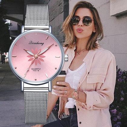 Luxury Silver Popular Pink Dial Flowers Metal Ladies Bracelet
