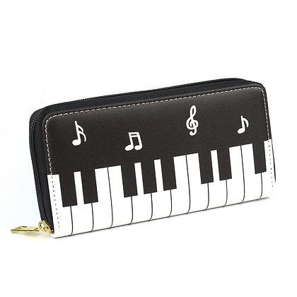 Piano Music Notes Zipper Billfold Purse
