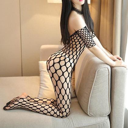 Erotic Lingerie / Fishnet Teddy Bodystocking Bodysuit Lenceria / Latex Catsuit