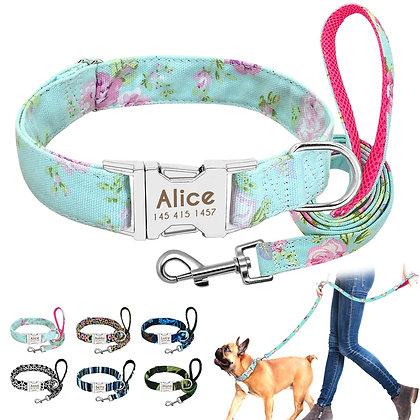 Dog Collar Custom Nylon Puppy Cat Dog Tag Collar Leash Personalized Pet ID plate