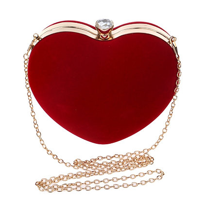 Heart Shaped Diamonds Women Evening Bags Chain Shoulder Purse