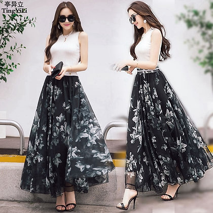 Boho Fashion Summer Long Skirts / Elegant Maxi Chiffon Skirt