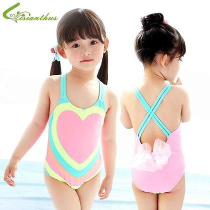 Kids Bathing Suits Girls One Piece Heart Printed Bikini /Children Swimwear