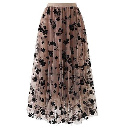 Vintage Elastic High Waist Mesh Skirts / Long Pleated